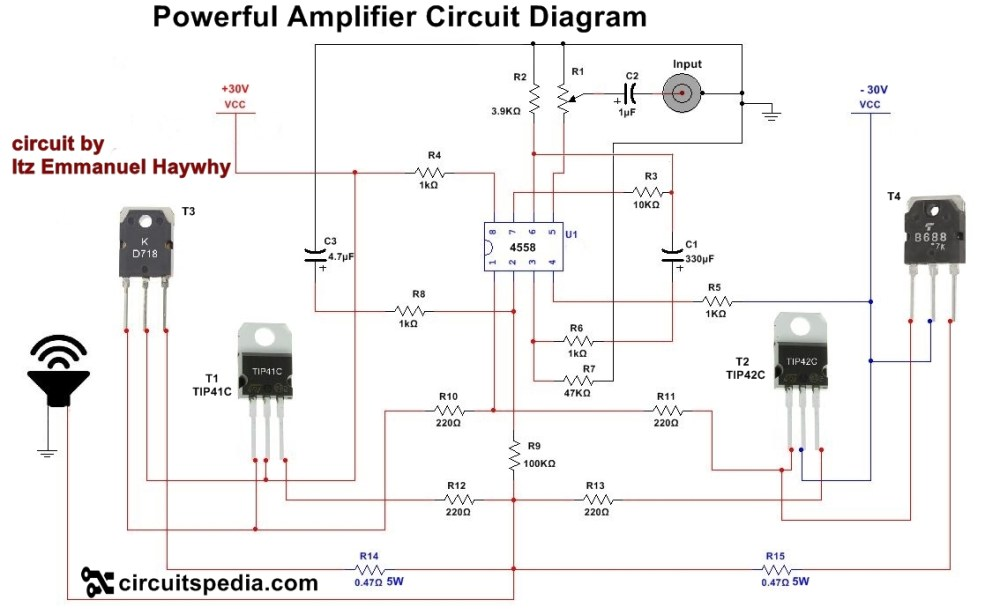 medium resolution of 4558 powerful audio amplifier circuit