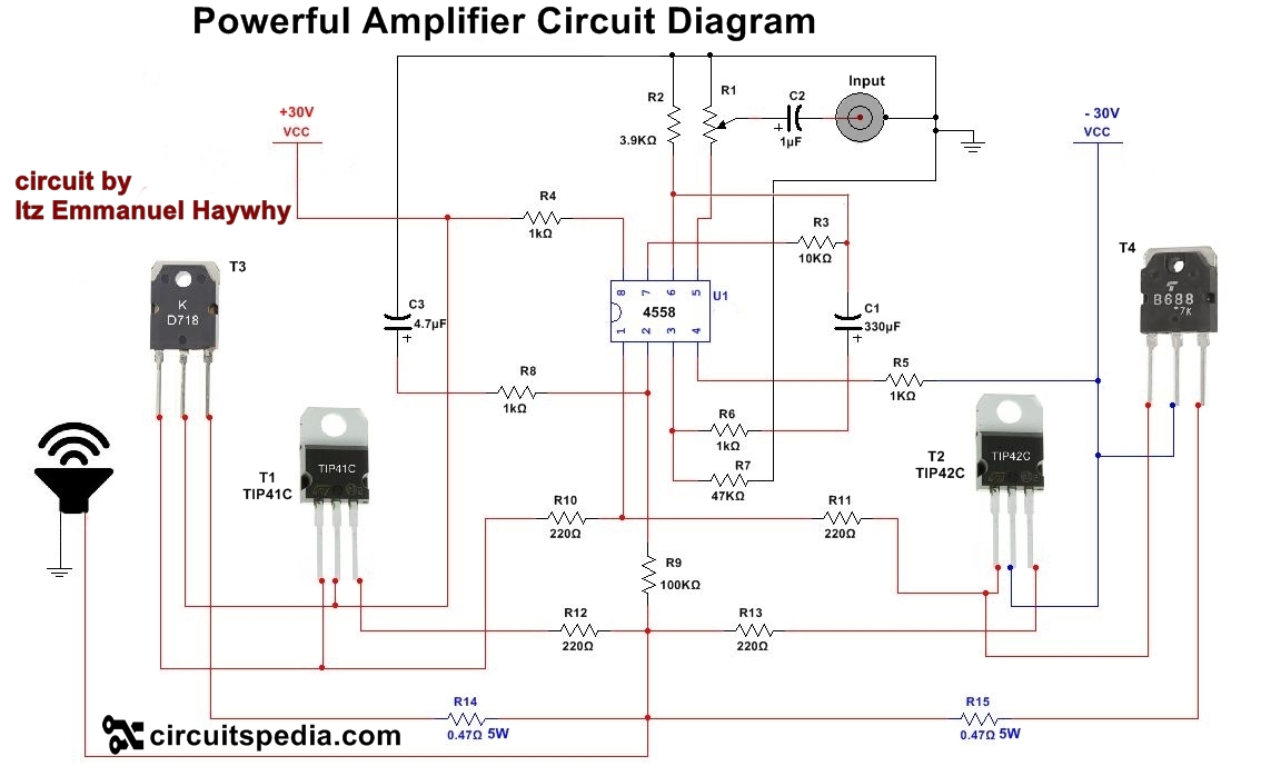 hight resolution of 4558 powerful audio amplifier circuit