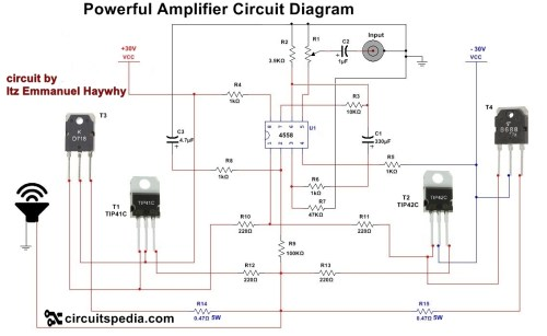 small resolution of 4558 powerful audio amplifier circuit