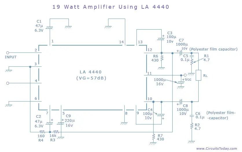 5000 watt amplifier circuit diagram lawn mower simple 19 watts using la4440 ic from sanyo