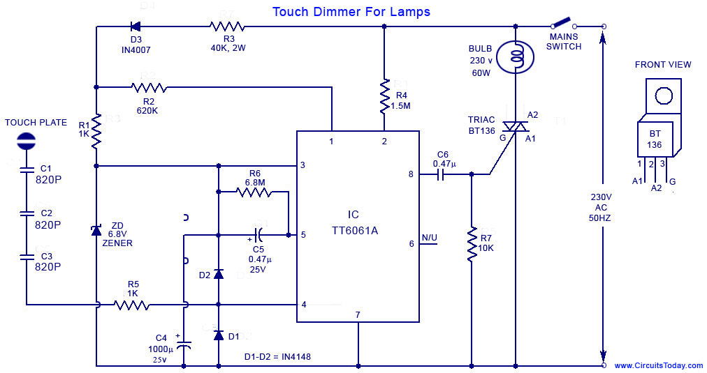 120v Led Night Light Circuit Diagram Touch Lamp Control Touch Dimmer Circuit For Lamps Using