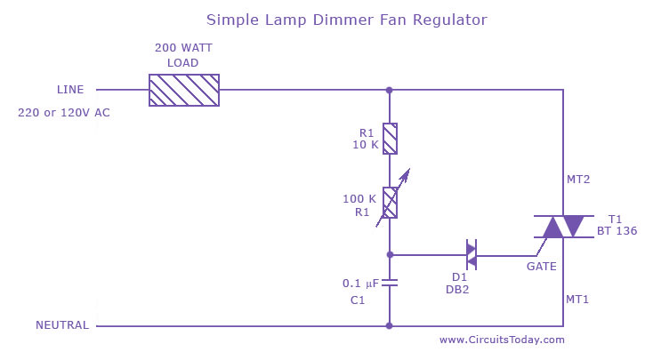 wiring diagram of a ceiling fan symbols house simple lamp dimmer regulator circuit using triac