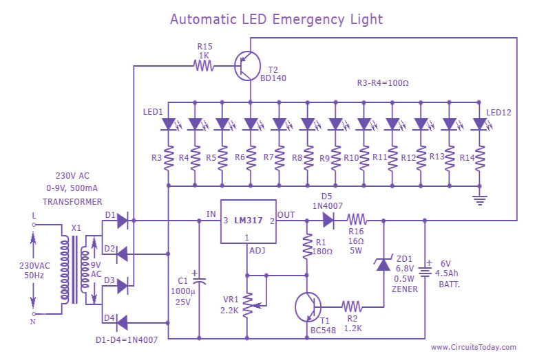 wiring diagram for house lights lead tin phase automatic led emergency light circuit