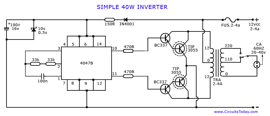 Free Wiring Diagram: Simple Inverter Circuit Diagram