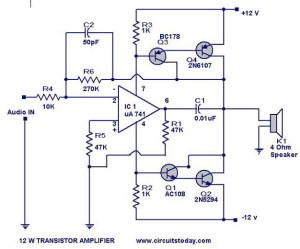 Transistor Amplifier Circuit with Diagram for 12 Watts