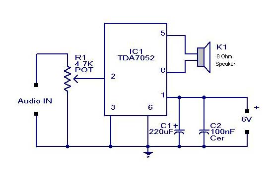 ohm load wiring diagram visio application small or mini audio amplifier circuit using tda 7052 ic-deliver 2 watts