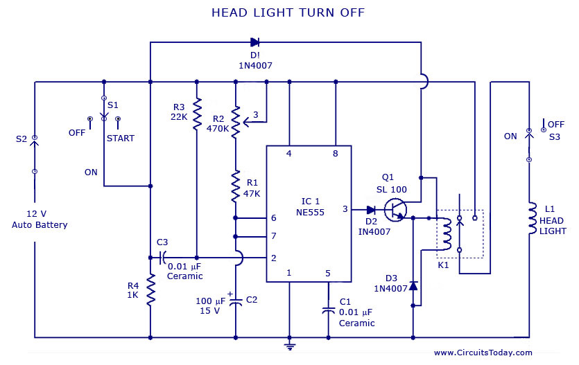 Automatic Car Vehicle Head Lights Turn Off Circuit