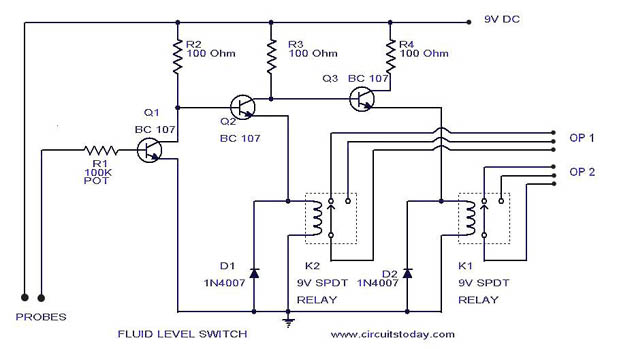 Liquid/Fluid/Water/Float/Tank Level Switch Circuit Diagram
