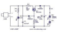 USB LED Lamp Circuit using 5 Volts