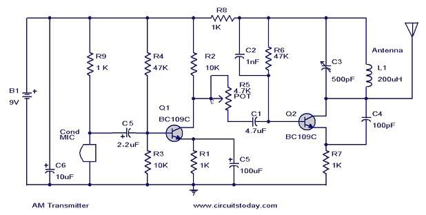 Wiring Pre Circuit diagram: AM Transmitter circuit