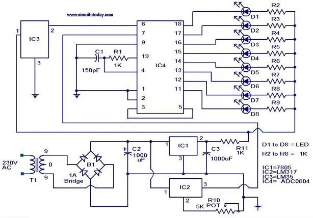 digital temperature controller circuit diagram typewriter parts sensor using adc0804 lm35 and lm317