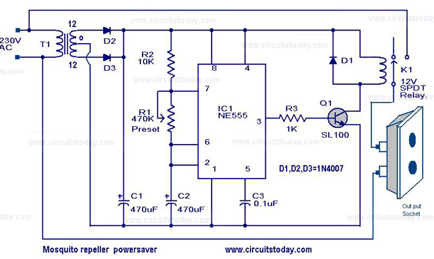 Mosquito Repeller Power Saver Circuit And Energy Saver Circuit Diagram