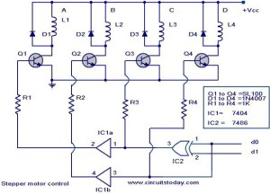 Stepper motor controller  Driver circuit with circuit design