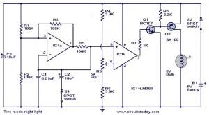 Two mode night light circuit  Working,Circuit DIagram