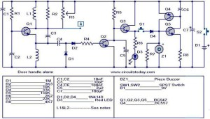 Door handle alarm  Electronic Circuits and DiagramsElectronic Projects and Design