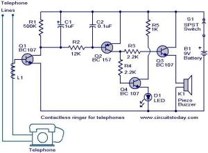 Contactless telephone ringer circuit  Electronic Circuits