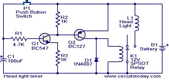 dayton timer relay wiring diagram 4 pin regulator rectifier for off delay on lights great installation of head light circuit electronic circuits and diagrams rh circuitstoday com
