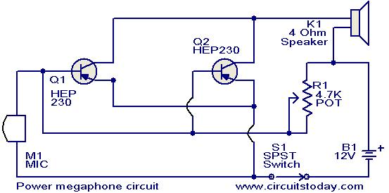 push to talk switch wiring diagram basic auto ignition power megaphone circuit electronic circuits and diagrams jpg