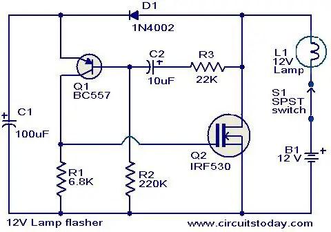 12v lamp flasher circuit diagram  online circuit  wiring