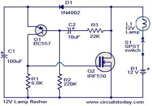 12V Lamp flasher circuit | Todays Circuits ~ Engineering Projects