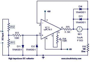 High impedance DC voltmeter  Electronic Circuits and