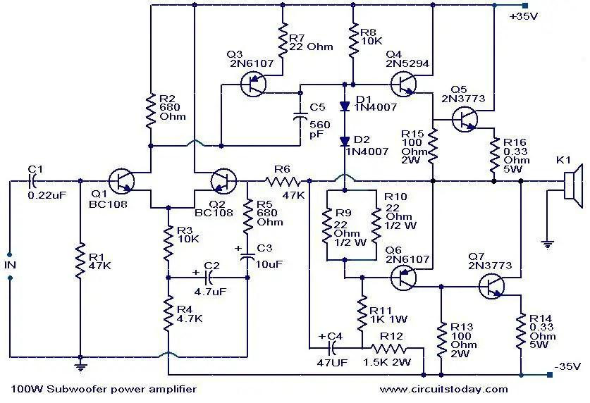 1000 Watts Amplifier Circuit Diagrams 100 Watt Sub Woofer Amplifier Working And Circuit Diagram