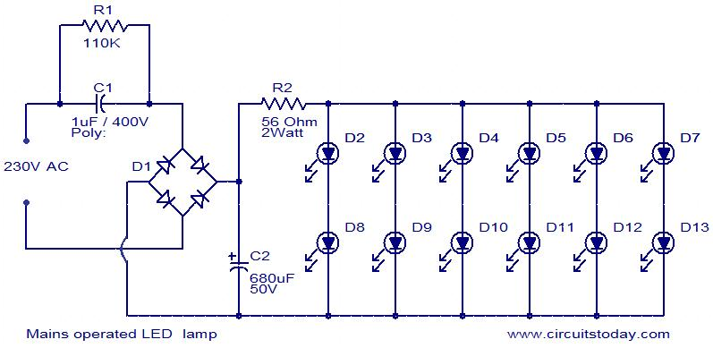 Mains Operated LED Lamp Electronic Circuits And Diagram