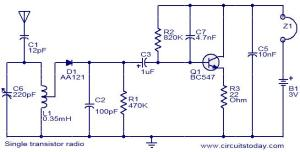 Single transistor radio  Electronic Circuits and Diagrams