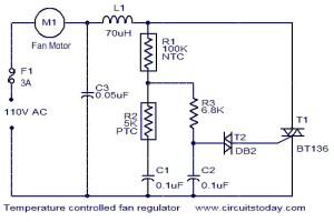 Temperature controlled fan regulator  Electronic Circuits