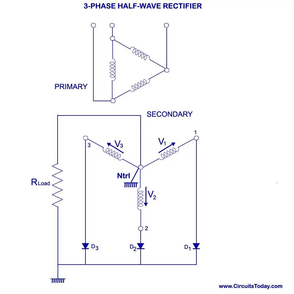 medium resolution of three phase half wave rectifier