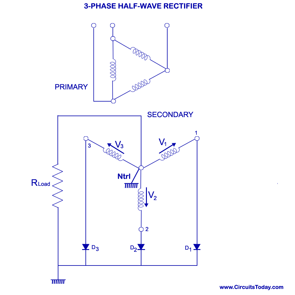 hight resolution of three phase half wave rectifier