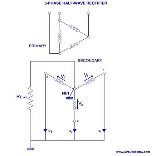 small resolution of three phase half wave rectifier