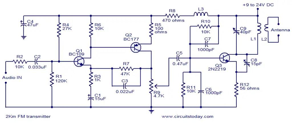 simple fm transmitter circuit diagram