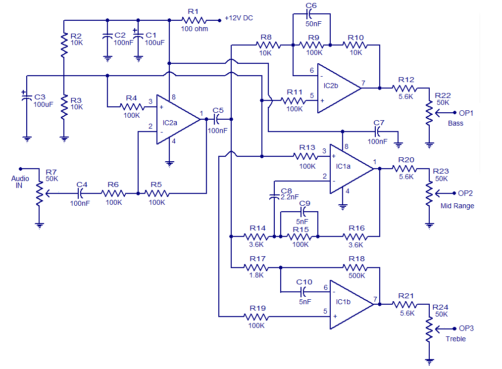3 Way Active Cross Over Network Electronic Circuits And Diagram