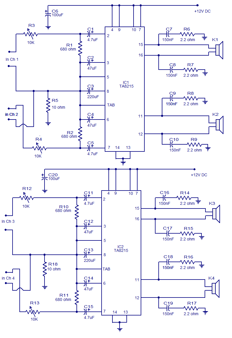 hight resolution of 4x15w amplifier circuit