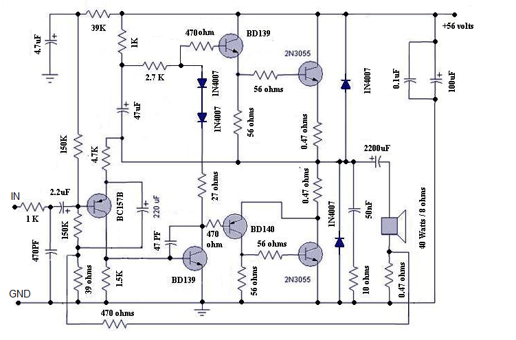 1000 Watts Power Amplifier Schematic Diagrams Motional Feed Back Amplifier Electronic Circuits And