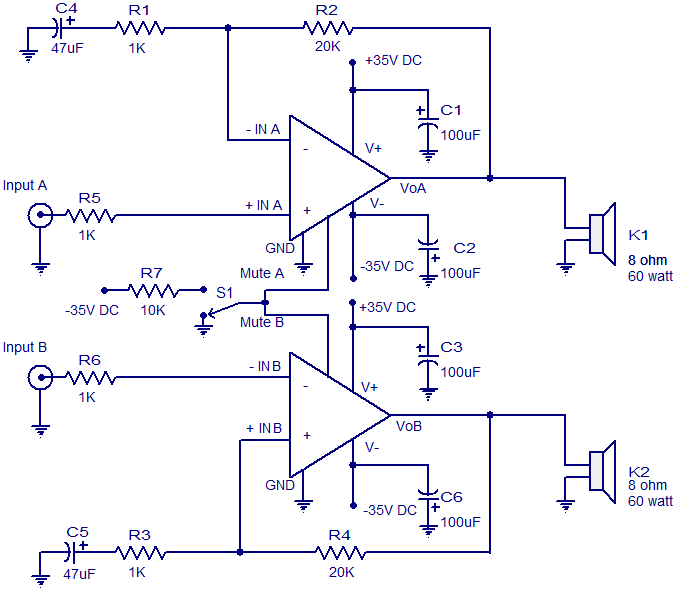 1000 Watts Power Amplifier Schematic Diagrams 2 X 60 W Audio Amplifier Circuit Electronic Circuits And