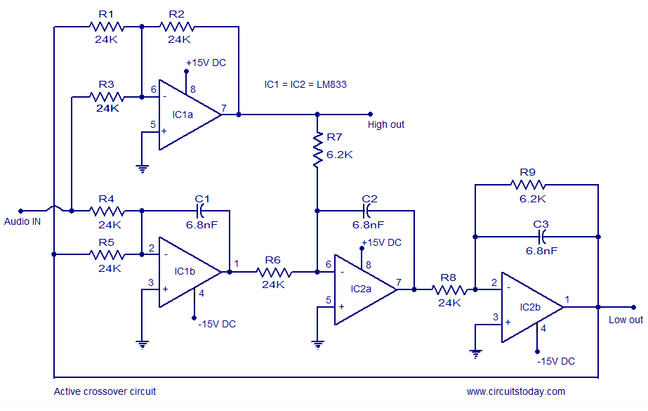 Active Crossover Circuit Schematic Design And Diagram