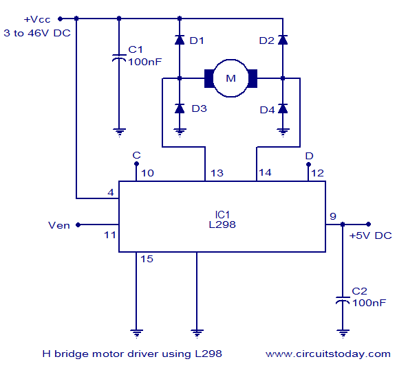 dual voltage single phase motor wiring diagram 3 wire switch h bridge control circuit schematic using ic l298 of controller