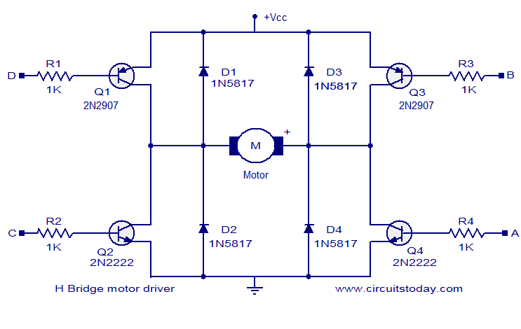 l298 h bridge circuit diagram aircraft wiring 6io lektionenderliebe de motor driver electronic circuits and diagrams rh circuitstoday com using transistor