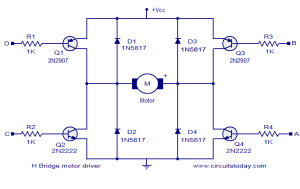 H bridge motor driver circuit  Electronic Circuits and