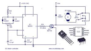 Dc motor speed controller circuit using NE555