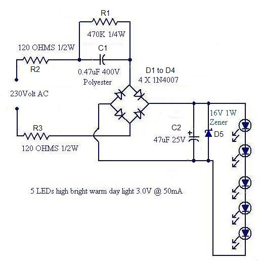 A Simple LED Lamp Circuit From Scrap Uses 5 LED And Takes Only 50 MA