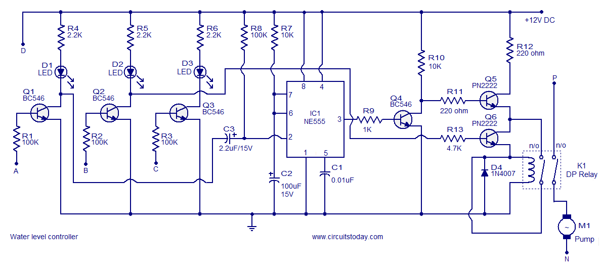 hot water tank wiring diagram 24 36 volt trolling motor level controller circuit using transistors and ne555 timer ic
