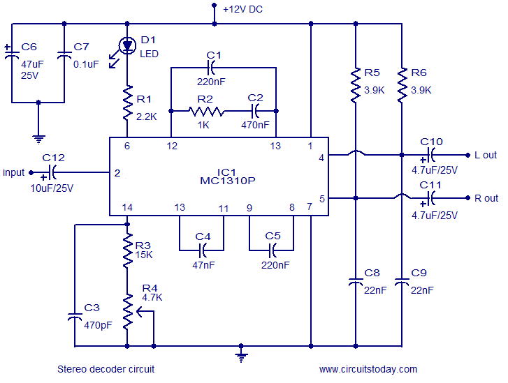 dtmf decoder ic mt8870 pin diagram 2002 honda civic ac wiring stereo circuit using mc1310p