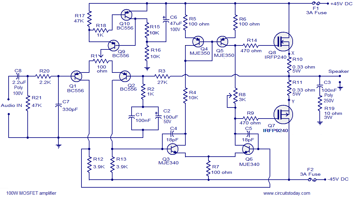 100w subwoofer amplifier circuit diagram 1999 ford super duty trailer wiring mosfet power using irfp240 irfp9240