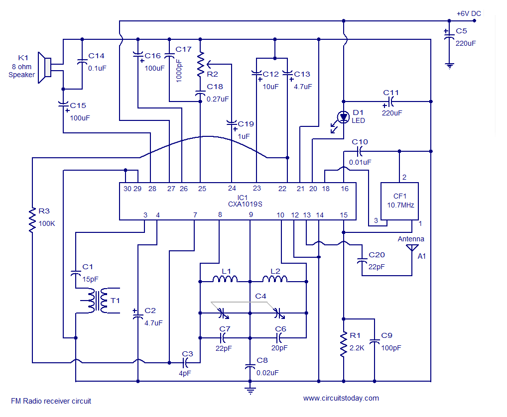 hight resolution of fm receiver circuit using cxa1019 3v to 7v operation 500mw output how fm antenna