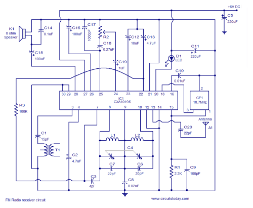 small resolution of fm receiver circuit using cxa1019 3v to 7v operation 500mw output how fm antenna