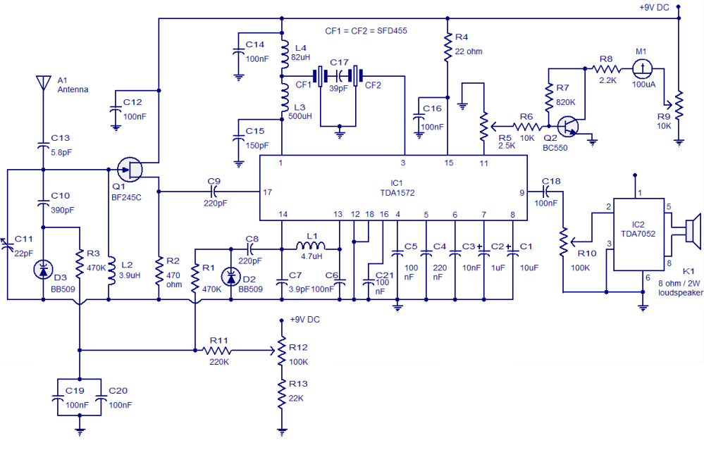 medium resolution of am radio circuit based on tda1572 9v operation 2w output air conditioning schematic diagram am