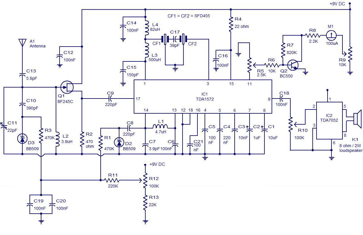 hight resolution of am radio circuit based on tda1572 9v operation 2w output air conditioning schematic diagram am